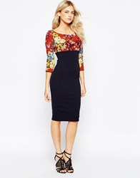 City Goddess Midi Dress With Floral Empire Line Detail Red