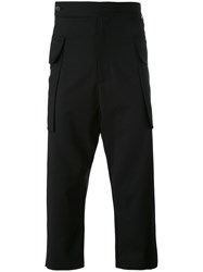 Odeur Drop Crotch Cropped Trousers Unisex Spandex Elastane Wool M Black