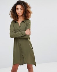 Vero Moda Shirt Dress With Slits And Keyhole Back Ivy Green