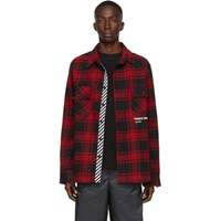 Off White Ssense Exclusive Red Quote Flannel Shirt