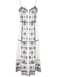 Veronica Beard Embroidered Midi Dress White