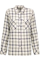 Current Elliott The Perfect Checked Cotton Blend Shirt White