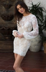 Women's Katie May Long Sleeve Open Back Lace Sheath Dress