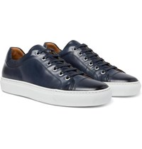 Hugo Boss Mirage Burnished Leather Sneakers Navy