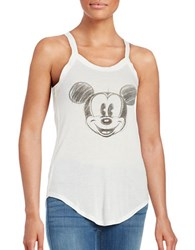 David Lerner Mickey Mouse Ribbed Tank Top White