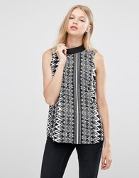 Jdy High Neck Sleeveless Top Cloud Dancer Aztec Multi