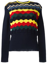 Marni Geometric Knit Jumper Blue