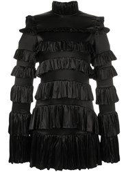 Off White Frilled Mini Dress With High Neck Black