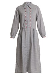Jupe By Jackie Battle Embroidered Gingham Cotton Shirtdress Navy Print