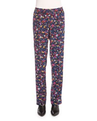 Kenzo Small Tanami Flower Silk Straight Leg Pants Peacock