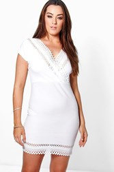 Boohoo Claire Laser Cut Wrap Dress Ivory