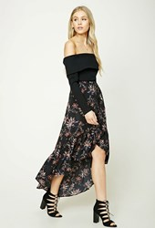 Forever 21 Floral Ruffle Maxi Skirt Black Wine