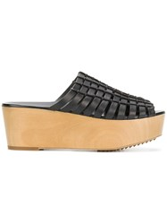 Rick Owens Strap And Rope Wedge Sandals Black