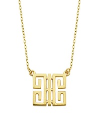 Lord And Taylor Greek Key Sterling Silver Square Pendant Necklace Gold