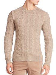 Ralph Lauren Purple Label Cashmere Braid Sweater Taupe Heather