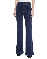 A.L.C. Byron High Rise Belted Flare Leg Jeans Black
