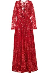 Naeem Khan Sequined Tulle Gown Red