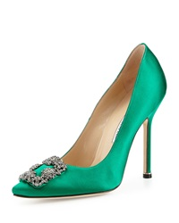 Manolo Blahnik Hangisi Crystal Buckle Satin Pump Green