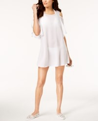 Michael Kors Studded Cold Shoulder Ruffle Dress Cover Up Swimsuit White