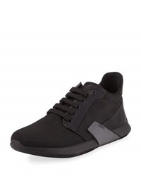 Prada Linea Rossa Nylon And Leather Running Sneaker Black
