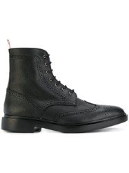 Thom Browne Wingtip Ankle Boots Calf Leather Leather Rubber Black