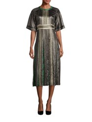 Burberry Metallic And Python Print Pleated Dress Sage
