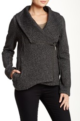 Sebby Asymmetrical Fleece Jacket Gray