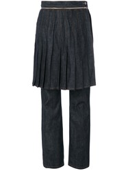Jean Paul Gaultier Vintage Denim Trousers With Overlayed Skirt Blue