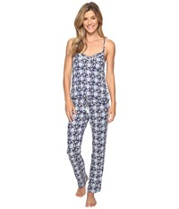 Lucky Brand Crochet Inserts Cami Pajama Set Deco Floral Navy Women's Pajama Sets Blue