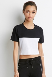 Forever 21 Colorblock Crop Top White Black