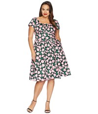 Unique Vintage Plus Size Cap Sleeve Valencia Swing Dress Black Pink Roses Multi