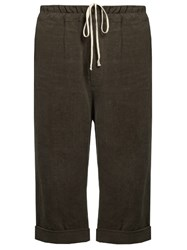 By Walid Pierre Antique Linen Cropped Trousers Grey