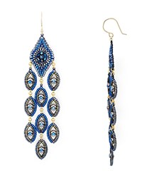 Miguel Ases Peacock Chandelier Drop Earrings Blue