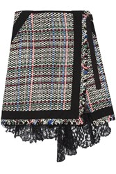 Sacai Corded Lace And Twill Trimmed Tweed Wrap Effect Skirt Black