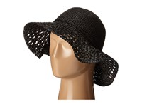 Karen Kane Raffia Straw Packable Floppy Black Caps