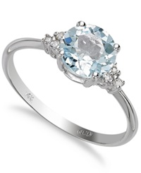 Macy's 14K White Gold Aquamarine 1 Ct. T.W. And Diamond Accent Ring