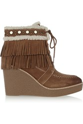 Sam Edelman Kemper Faux Shearling Lined Fringed Suede Wedge Boots