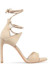 Stuart Weitzman Skydive Leather Trimmed Suede Sandals Beige