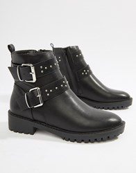 Pimkie Double Buckle Studded Boot Black