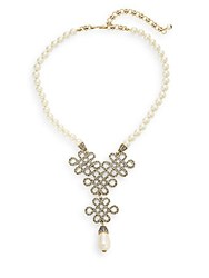 Heidi Daus Chinois Swarovski Crystal And Faux Pearl Necklace Gold Pearl