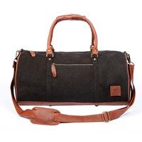 Mahi Leather Classic Duffle Overnight Gym Bag In Black Canvas