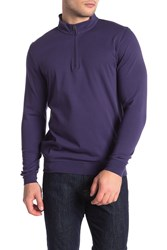 Tailorbyrd Jersey Solid Quarter Zip Pullover Navy