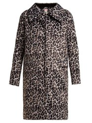 Shrimps Erin Leopard Print Single Breasted Coat Grey Multi