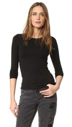 Alexander Wang Long Sleeve Back Slit Tee Black