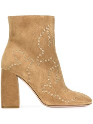 Red Valentino Eyelet Detail Boots Nude And Neutrals