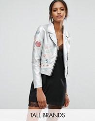 Glamorous Tall Metallic Faux Leather Jacket With Floral Embroidery Silver