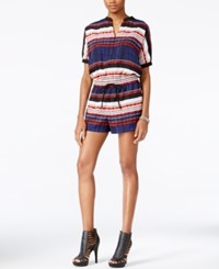 Guess Pendleton Striped Romper Pleats Stripe