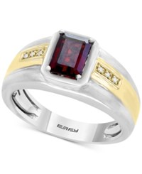 Effy Men's Garnet 1 3 4 Ct. T.W. And Diamond Accent Ring In Sterling Silver And 18K Gold Red