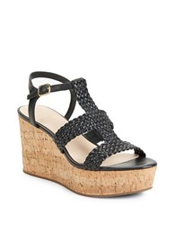 Kate Spade Tianna Woven Leather Cork Platform Wedge Sandals Black