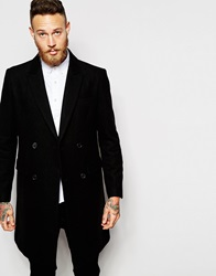 Asos Double Breasted Overcoat In Black